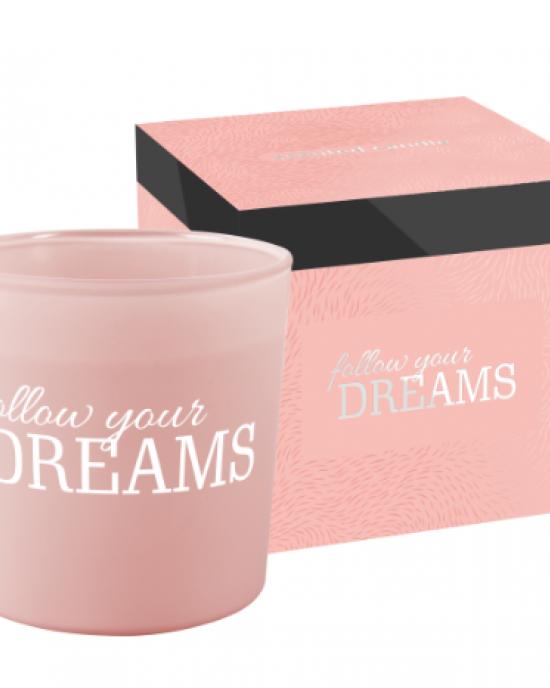 Dišeča sveča z dvema stenjema Follow your dreams
