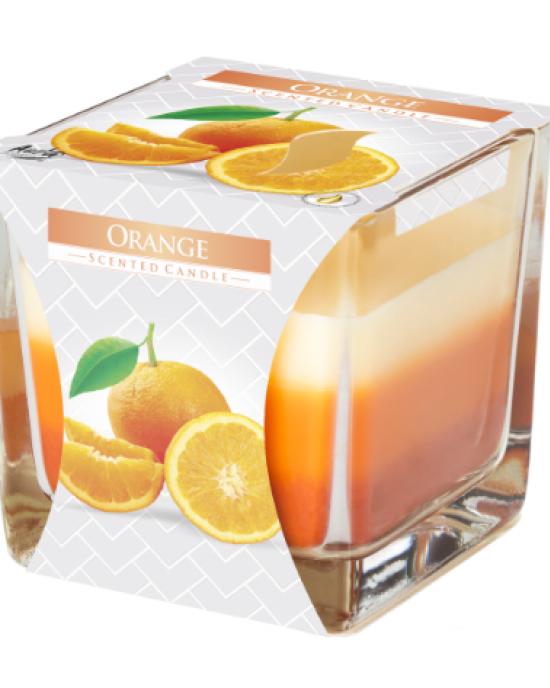 Tribarvna dišeča sveča v kozarcu Pomaranča