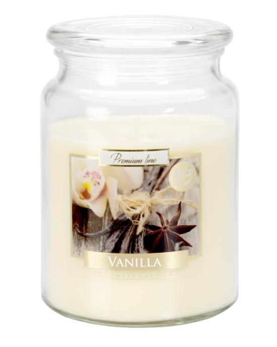 Velika dišeča sveča v kozarcu s pokrovom Vanilija